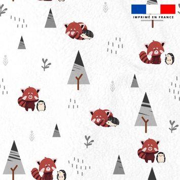 Polaire blanche motif panda roux et hérisson