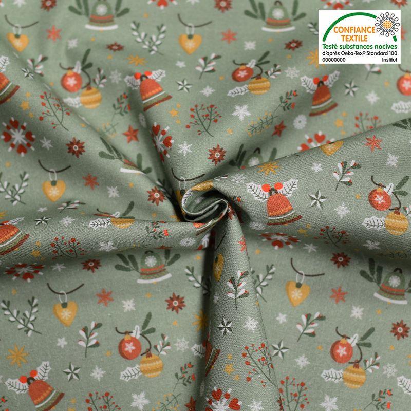 Coton bio vert motif cloche de Noel aslak Oeko-tex