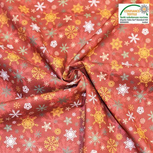 Coton bio rouge motif flocons de Noel aslak Oeko-tex