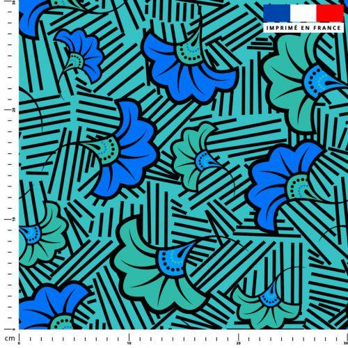 Fleur de mariage bleue et verte wax - Fond bleu et traits noirs