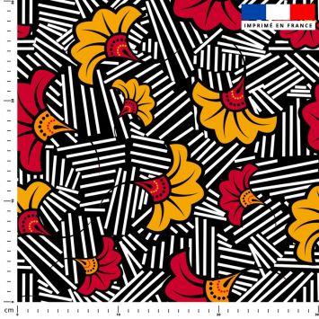 Fleur de mariage rouge et ocre wax - Fond noir et traits noirs