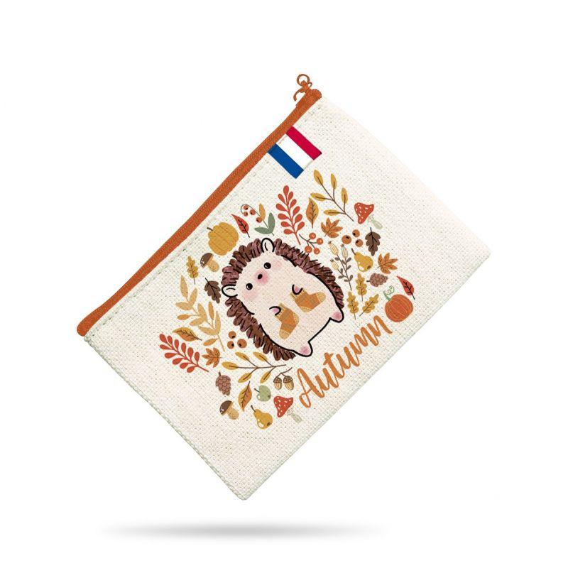 Kit pochette motif hérisson et feuilles d'automne