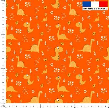 Dinosaure ocre - Fond orange