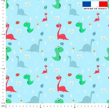 Dinosaure - Fond bleu clair