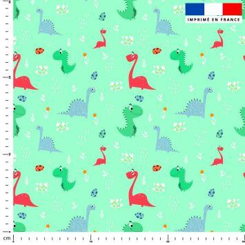 Dinosaure - Fond vert d'eau