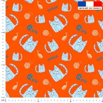 Chat bleu pelote - Fond orange