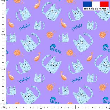 Chat bleu pelote - Fond violet