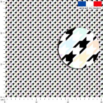 Pied de poule multicolore - Fond noir