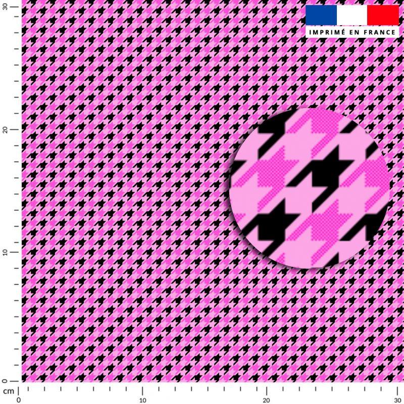 Pied de poule rose - Fond noir
