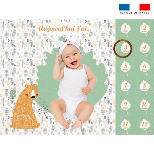 Coupon 100x75 cm pour couverture mensuelle bébé motif animaux de la forêt