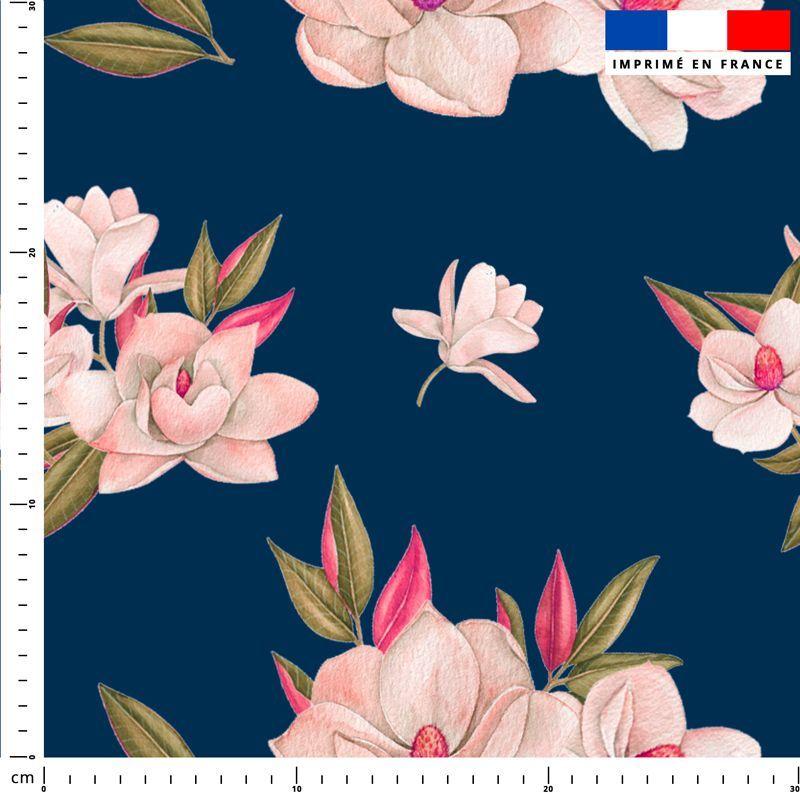 Fleur japonaise - Fond bleu nuit