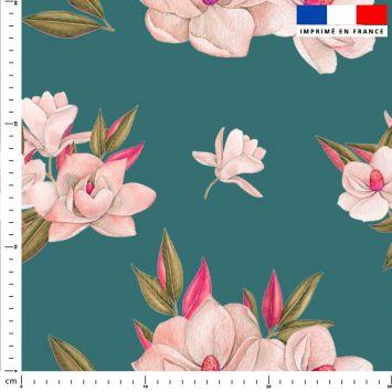 Fleur japonaise - Fond bleu canard