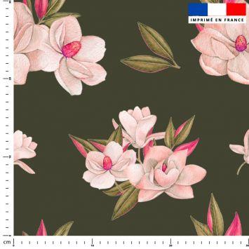 Fleur japonaise - Fond kaki
