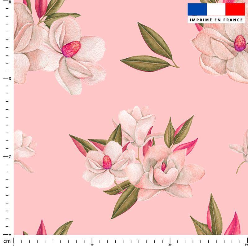 Fleur japonaise - Fond rose clair