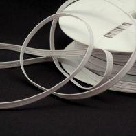 Rouleau 50m d'élastique tresse plate 5 mm blanc