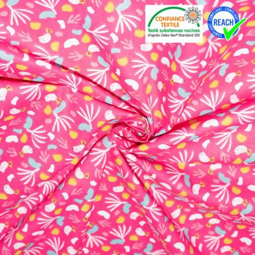 coupon - Coupon 59cm - Coton motif oiseau fuchsia et menthe lippy