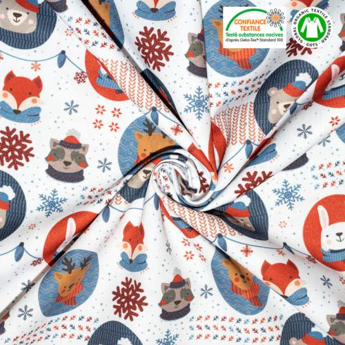 coupon - Coupon 56cm - Coton bio blanc motif animaux et flocons Oeko-tex
