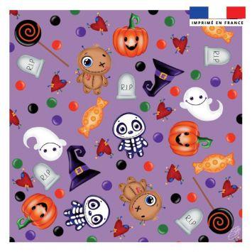 Coupon 45x45 cm motif halloween violet - Création Créasan'