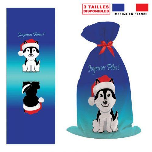 Kit hotte de Noel bleu motif Joyeuses Fêtes