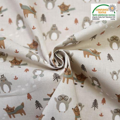 Coton beige motif loup et pingouin tayo Oeko-tex