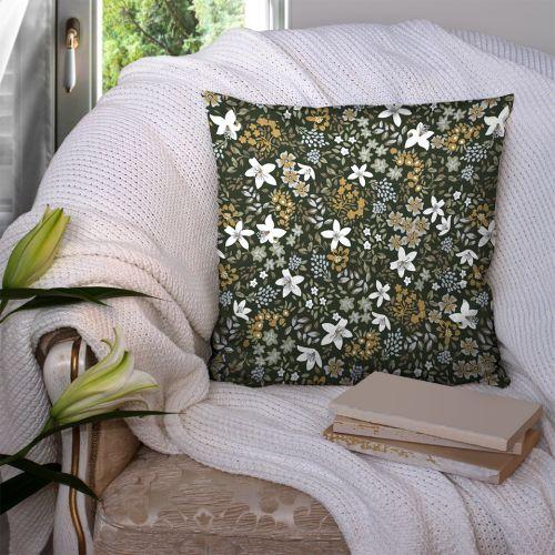 Coton kaki motif petites fleurs viva Oeko-tex