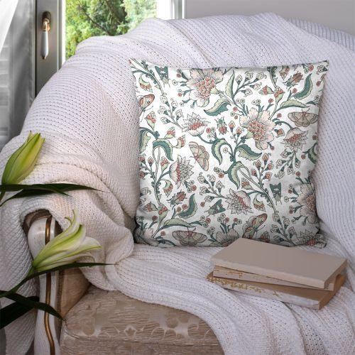 Coton blanc motif fleurs raipur Oeko-tex