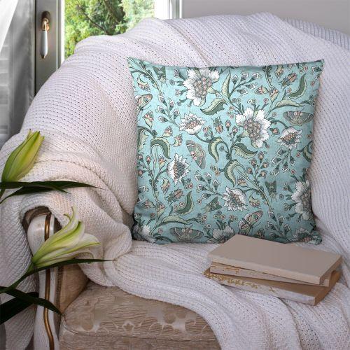 Coton bleu motif fleurs raipur Oeko-tex