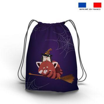Kit sac à dos coulissant motif panda roux halloween