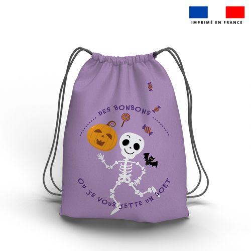 Kit sac à dos coulissant motif squelette