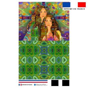 Kit pochette motif diva duo fond noir - Création Lita Blanc