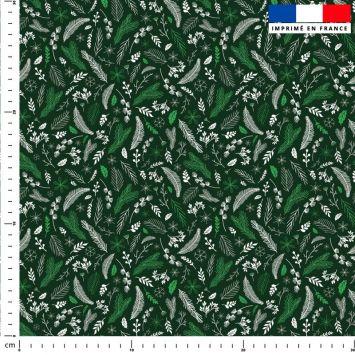 Feuilles vertes Noel - Fond vert forêt