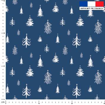Sapin de Noel blanc - Fond bleu