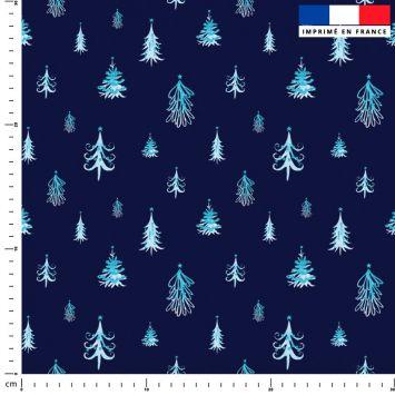 Sapin de Noel bleu - Fond bleu marine