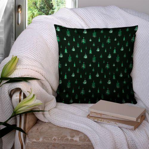 Sapin de Noel vert déco blanche - Fond vert foncé