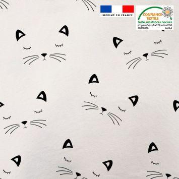 Tissu minky blanc motif chat noir Oeko-tex