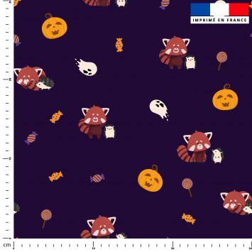 Panda roux et hérisson d'halloween - Fond aubergine