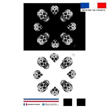 Kit pochette motif tête de mort black and white - Création Créasan'