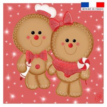 Coupon 45x45 cm rose motif pain d'épices - Création Créasan'
