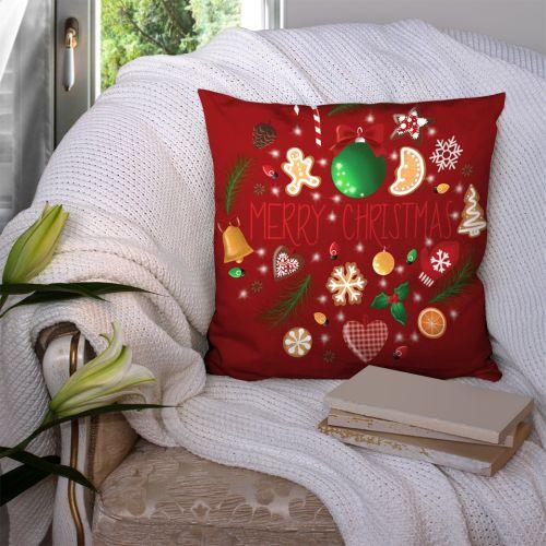 Coupon 45x45 cm rouge motif merry christmas - Création Créasan'