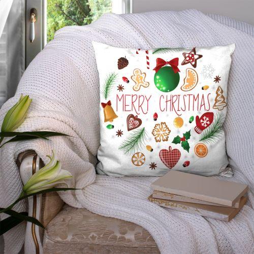 Coupon 45x45 cm blanc motif merry christmas - Création Créasan'
