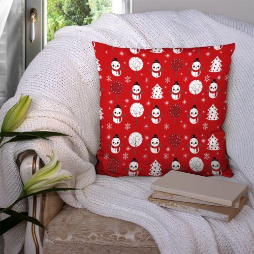 Bonhomme de neige - Fond rouge - Création Créasan'