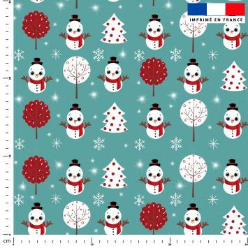 Bonhomme de neige - Fond bleu - Création Créasan'