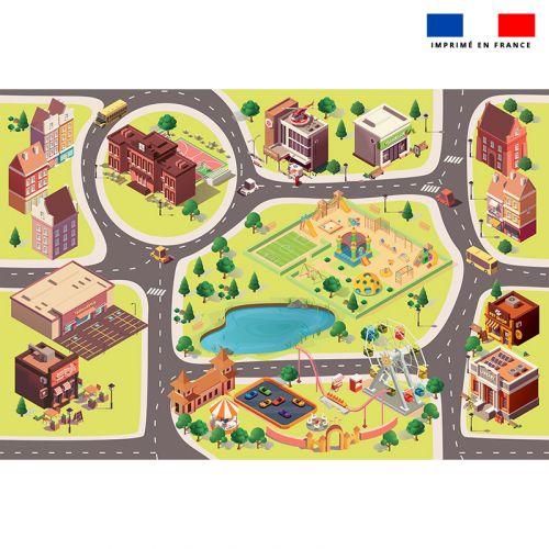 Tapis de jeu motif city - Fond vert