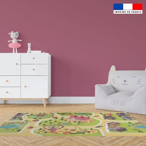 Tapis de jeu motif girly - Fond rose