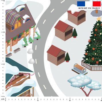 Tapis de jeu motif station de ski - Fond blanc