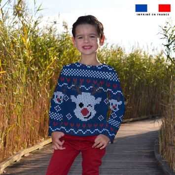 Kit pull Noel en polaire motif renne bleu