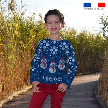Kit pull Noel en polaire motif bonhomme de neige bleu