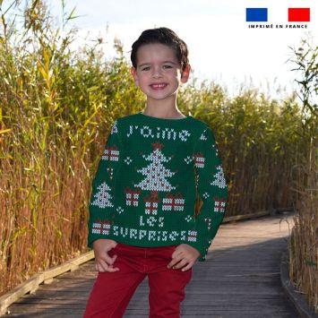 Kit pull Noel en polaire motif surprise