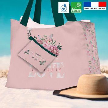 Kit sac de plage imperméable motif Always be HAPPY - Queen size