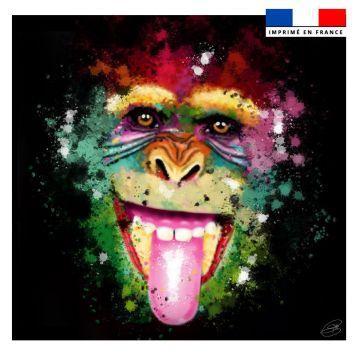 Coupon 45x45 cm motif chimpanzé - Création Créasan'